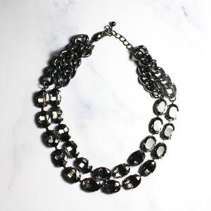 The Limited Jewelry Gunmetal Tone Stone Necklace